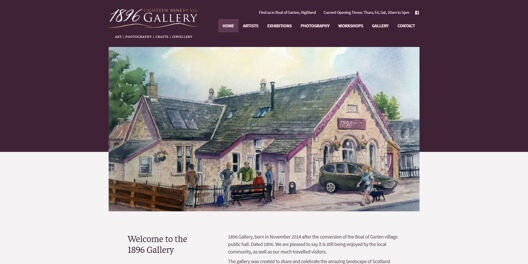 Homepage screenshot of 1896 Gallery