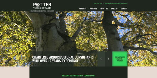 Services page on Potter Tree Consultancy website. Has header with contact button, buttons and grid of services.