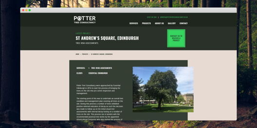 Project page on Potter Tree Consultancy website. Has title, project details, image and body text.