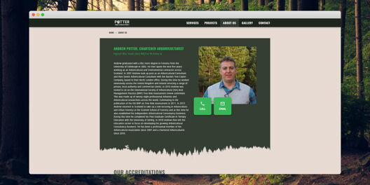 About page on Potter Tree Consultancy website. Photo of man, contact buttons and body of text..